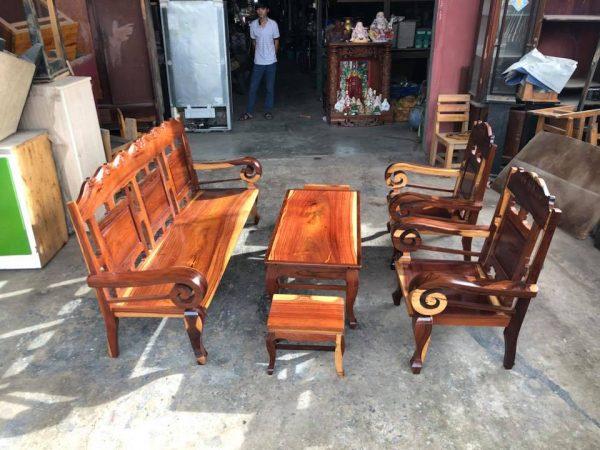 Bàn ghế cũ phòng khách gỗ cẩm lai