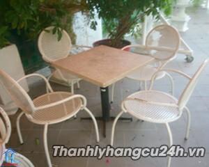Thanh lý bàn ghế cafe kiểu trắng