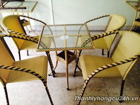 Thanh lý bàn ghế cafe giả mây màu vàng