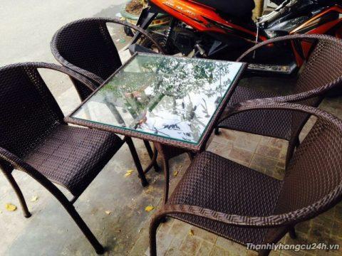 Thanh lý bàn ghế cafe giả mây màu đen