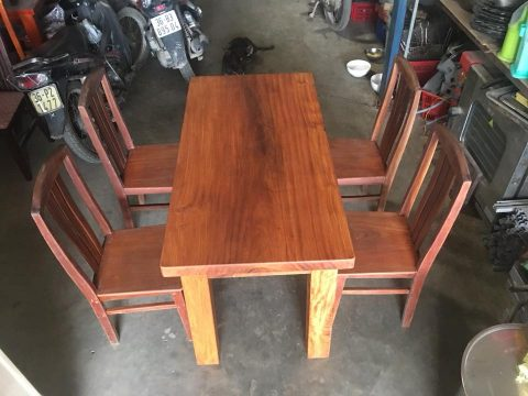 Bàn ăn gỗ gõ 4 ghế thanh lý