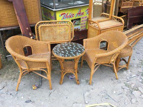 bàn ghế cafe mây tự nhiên