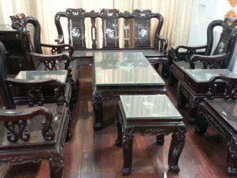 Bàn ghế tay 10 gỗ cẩm lai