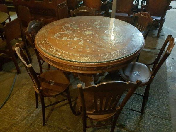 Mua đồ gỗ cũ bàn tròn 6 ghế