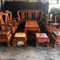 thanh lý bàn ghế gỗ hương tay 14