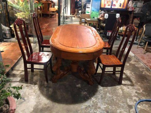 thanh lý bàn ăn gỗ 4 ghế